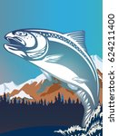 salmon fishing emblem isolated... | Shutterstock .eps vector #624211400