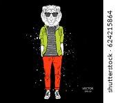 hipster dressed lion in jacket  ... | Shutterstock .eps vector #624215864