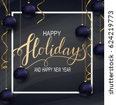 greeting card for winter happy... | Shutterstock . vector #624219773