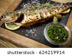 fresh sea bass. mediterranean... | Shutterstock . vector #624219914