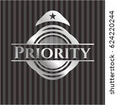 priority silver badge or emblem | Shutterstock .eps vector #624220244