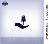 microphone icon  vector   Shutterstock .eps vector #624220286