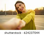follow me   happy young woman... | Shutterstock . vector #624237044