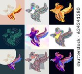 set of goldfish logos. abstract ... | Shutterstock .eps vector #624241280