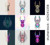 set of beetle logos. abstract... | Shutterstock .eps vector #624241358