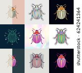 set of beetle logos. abstract... | Shutterstock .eps vector #624241364