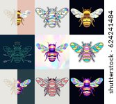 set of bumblebee logos.... | Shutterstock .eps vector #624241484