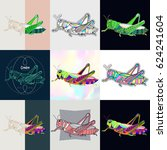 set of grasshopper logos.... | Shutterstock .eps vector #624241604