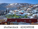 winter morning in park city ... | Shutterstock . vector #624249038