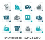 stylized e mail and message... | Shutterstock .eps vector #624251390