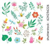 Stock vector set of insects and floral design elements isolated on white background 624256226