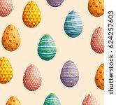 eggs painted easter celebration   Shutterstock .eps vector #624257603