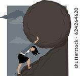 woman rolling a huge rock... | Shutterstock .eps vector #624264620