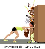wardrobe is bursting from stuff ... | Shutterstock .eps vector #624264626
