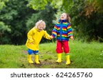 little boy and girl play in... | Shutterstock . vector #624265760
