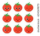 cute  funny and happy tomato... | Shutterstock .eps vector #624269873