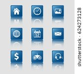 blue flat design icons  common...