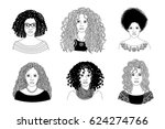 hand drawn black and white... | Shutterstock .eps vector #624274766