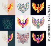 set of phoenix logos. abstract... | Shutterstock .eps vector #624276158