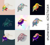 set of bird logos. abstract... | Shutterstock .eps vector #624276164