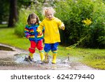 little boy and girl play in... | Shutterstock . vector #624279440