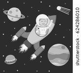 black and white astronaut girl... | Shutterstock .eps vector #624286010