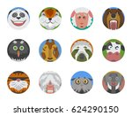 cute animals emotions icons... | Shutterstock .eps vector #624290150