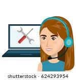 customer service agent working... | Shutterstock .eps vector #624293954