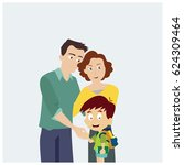 happy family with style flat... | Shutterstock .eps vector #624309464