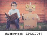 one little boy reading to ... | Shutterstock . vector #624317054