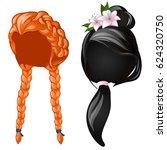 set vintage elegant women's... | Shutterstock .eps vector #624320750