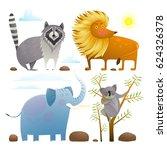 animals zoo clip art collection ... | Shutterstock .eps vector #624326378