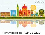 venice skyline with color... | Shutterstock . vector #624331223