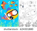 vector cartoon of big fish and...