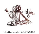 astronaut dj with console  hand ... | Shutterstock .eps vector #624351380