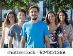 caucasian guy with beard with... | Shutterstock . vector #624351386