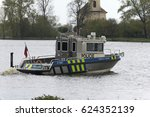 a fast police boat on the river | Shutterstock . vector #624352139