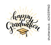 happy graduation. hand drawn... | Shutterstock .eps vector #624359960