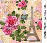 paris vintage postcard. | Shutterstock . vector #624367736
