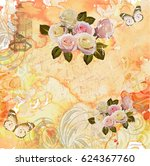vintage background roses ... | Shutterstock . vector #624367760