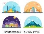 city street landscape real... | Shutterstock .eps vector #624371948