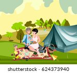 family in nature with a tent | Shutterstock .eps vector #624373940