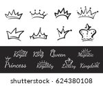 hand drawn crowns logo and icon ... | Shutterstock .eps vector #624380108