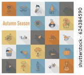 set of flat autumn icons.... | Shutterstock .eps vector #624384590