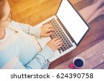 beautiful girl used laptop with ... | Shutterstock . vector #624390758