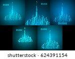 set of technology image of... | Shutterstock .eps vector #624391154
