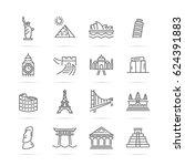 world landmarks vector line... | Shutterstock .eps vector #624391883