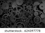 dark gears background  3d... | Shutterstock . vector #624397778