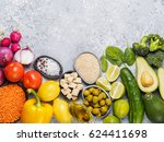 colorful food background. vegan ... | Shutterstock . vector #624411698