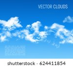 blue sky with realistic clouds. ... | Shutterstock .eps vector #624411854